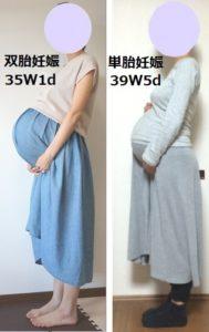 双胎妊娠(双子)と単胎妊娠(ひとり)のお腹の大きさ比較写真
